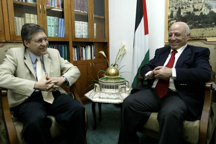 Abu Ala and Yossi Baylin in a meeting