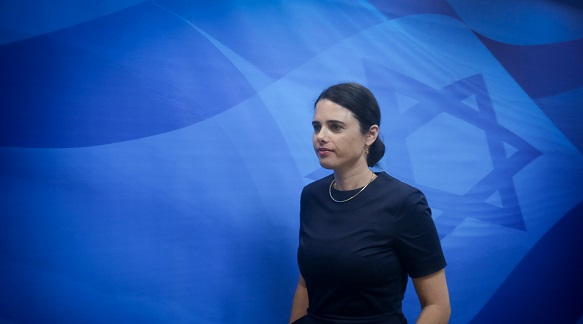 Israeli minister of Justice Ayelet Shaked arrives to the weekly cabinet meeting at the Prime Minister office in Jerusalem on September 27, 2016. Photo by Marc Israel Sellem/POOL *** Local Caption *** ישיבת ממשלה משרד ראש הממשלה קבינט איילת שקד משפטים