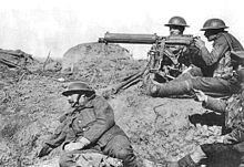 The slaughter of the trenches shattered faith in liberalism. A British machine gun team. Photo: Wikipedia.
